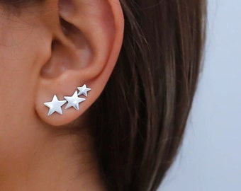 Star ear cuff, sterling silver Ear Climber, silver studs, silver climbing earrings, 3 stars ear climber, silver ear jacket, silver earrings
