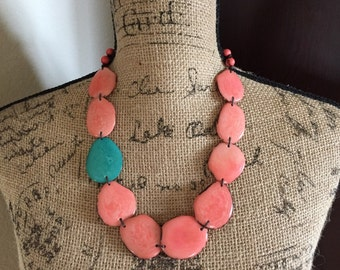 Tagua Necklace, Coral and Aqua Tagua Necklace, Tagua Jewelry, Seed Jewelry, Statement Necklace