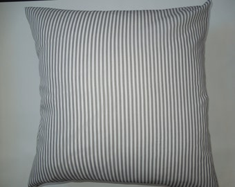 Gray and White Striped Pillow Sham