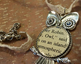 Winnie the Pooh Owl Silver Pendant on White Lace Necklace