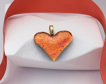Orange Heart Pendant-Dichroic Glass Pendant