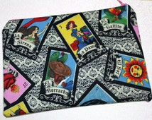 Loteria Bag - Mexican Lottery bag - Loteria cosmetic bag - loteria makeup bag - pinup - loteria pencil pouch