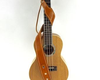 Leather Ukulele Strap / handmade / lined / Mandolin Strap / Adjustable / Musician gift / Christmas gift