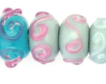 3 Sets of Handmade Glass Beads - Pink and Baby Blue Glass Beads - 3 Pairs Perfect for Making Earrings