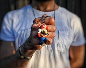 Mario figurine - pendant on ball chain necklace