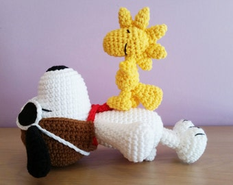 Crochet Snoopy Amigurumi - Handmade Crochet Amigurumi Toy Doll - Snoopy Crochet - Amigurumi Snoopy - Woodstock