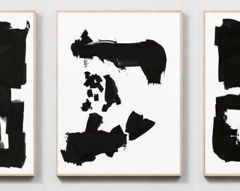 """Art Print Set, 3 Black and White Art, digital downloads, Printable Abstract, instant download, each one 12""""x16"""" size, Art set"""