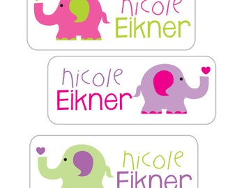 Elephant Waterproof Stickers, Girl Name Labels for School, 30 Personalized Stickers for daycare, school and camp.  Dishwasher Safe
