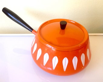 Orange Cathrineholm Fondue Pot with Lid Clean Mid Century Mod