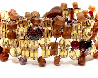 Beaded bracelet,Fall Bracelet,Autumn Bracelet,Brown Bracelet,Fall Jewelry,Boho Bracelet,Thanksgiving Jewelry,Gifts for her,Gifts for Teens