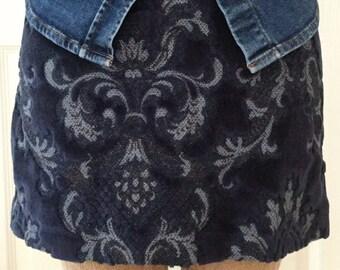Vintage Navy Blue Velvet Tapestry Upholstery Mini Skirt