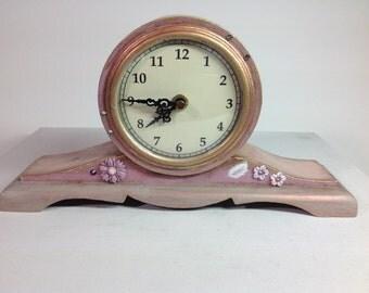 Perfect Quartz - Unique French Look Shabby Chic Pink/Swarovski Mantel Clock
