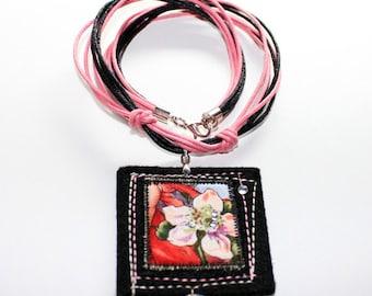 Textile necklace - Apple Flower