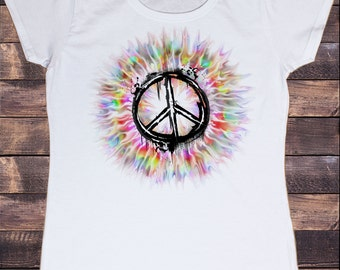 Women's White T-Shirt Beautiful CND Peace Burst Print TSY13