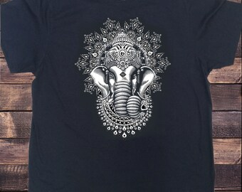 Men's T-Shirt Ganesh Elephant God Line Art Meditation India Zen Hobo Yoga Print