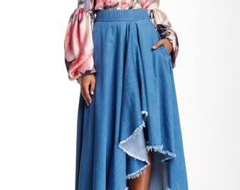 Denim Hi-Lo Skirt