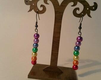 Rainbow pearl earrings.