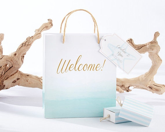Welcome Gift Baskets For Wedding Guests: Beach Tides Welcome Bags Set Of 12 Starfish Blue White