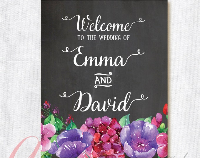 Welcome Wedding Sign. Chalkboard Welcome sign. Printable chalkboard poster. Chalkboard wedding sign. Floral wedding sign.