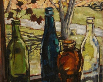"Original Oil Painting Windowsill with Bottles 8"" x 10"""
