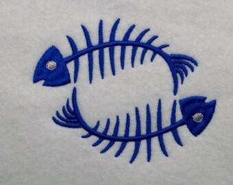 Fish Bones Fish Skeleton Machine Embroidery Design Download
