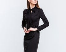 Elegant Black Maxi Dress.Straight Silhouette Dress With Bow.Occasion Dress Long Sleeve