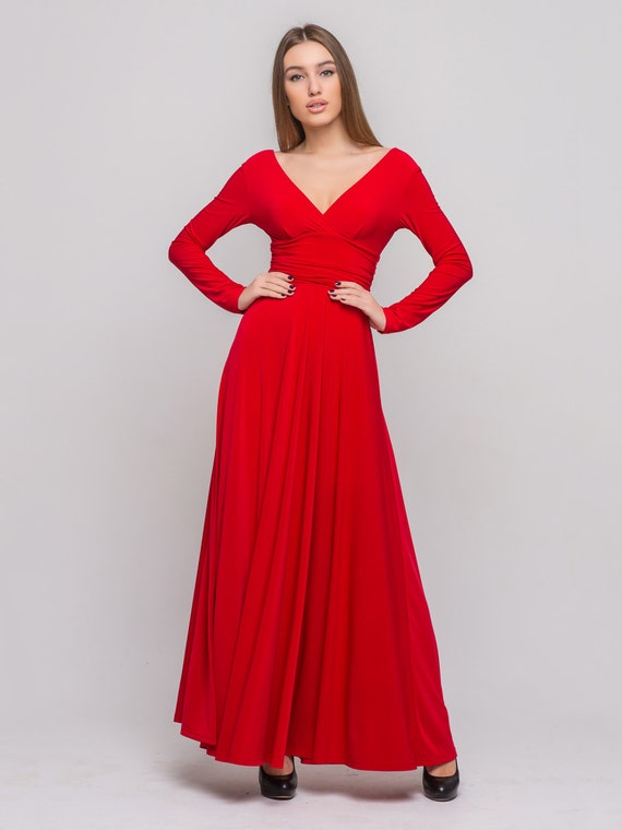 Galerry flared long red dress