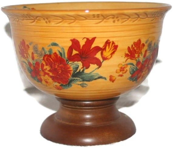 Vintage ftd ceramic pedestal bowl with wooden base home decor - Ceramic pedestal table base ...