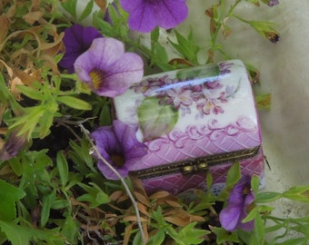 """Porcelain  Hinged Gift Box ~Trunk Shape 1 3/4"""" hand painted with Flowers of Viotets"""