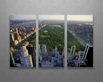 """New York City Central Park Skyline Gallery Wrapped Canvas Triptych Wall Art 48""""x30"""""""