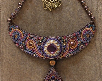 Vintage Faria Siddiqui Beaded Necklace  - Amazing Beadwork by Reknowned Artist!