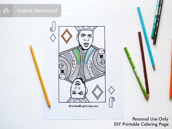 Jay z rap art adult coloring page printable art playing card for Playing cards coloring pages
