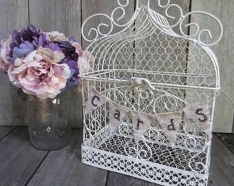 White bird cage card holder, wedding card holder, card cage, rustic wedding card holder, rustic card holder, rustic wedding decor, card box