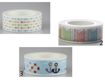 Pretty Patterned Washi Tape. Dots - Bunting - Ocean