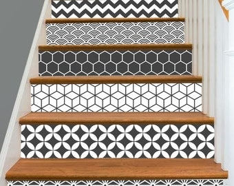 15steps Stair Riser Vinyl Strips Removable Sticker Peel & Stick : Geometric DarkGrey S003