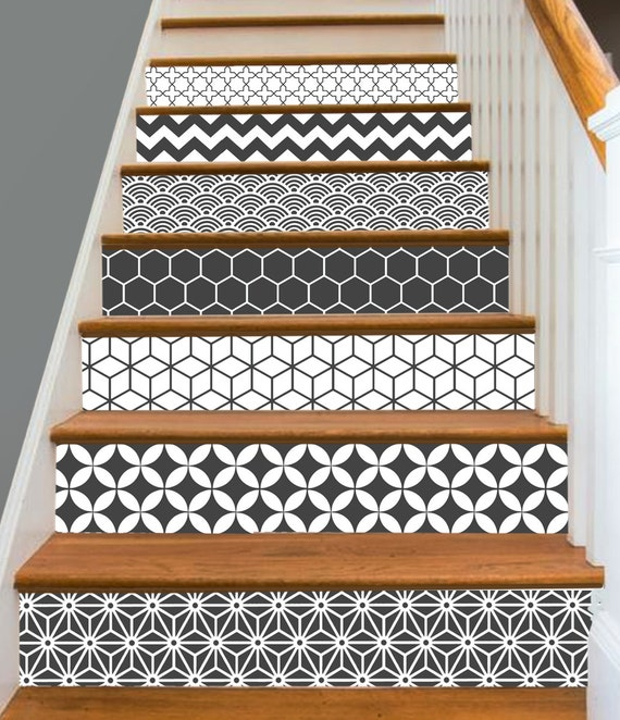 15steps stair riser vinyl strips removable sticker peel - Stickers pour marche d escalier ...
