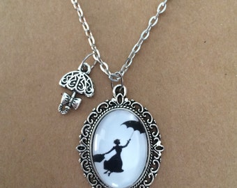 Handmade Mary Poppins silhouette necklace, mary poppins necklace, mary poppins charm necklace