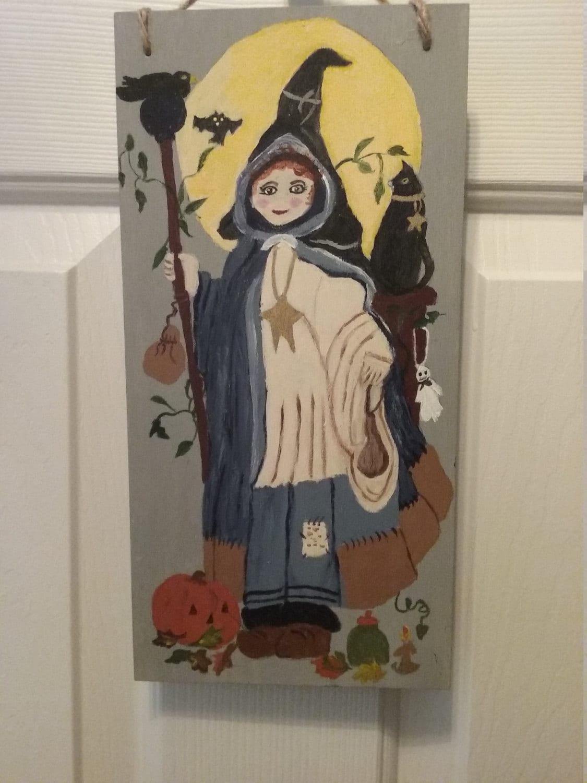 Wall Decor Halloween : Halloween wall decor hanging hand painted fall