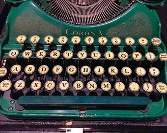 RARE--Green Corona Number 4 Portable Typewriter circa 1924