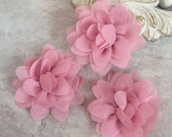 MINI dusty pink chiffon flower, chiffon flower, flower puff, material flower, headband flower, DIY supplies, fabric flower,