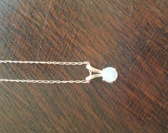 "Opal pendant on 21"" 14k gold fine chain"