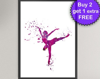 BALLERINA Watercolor Art Print Ballet Dancer Classic Dance Poster Art Print Wall Art Poster Giclée Wall Decor Art Home (Nº1)
