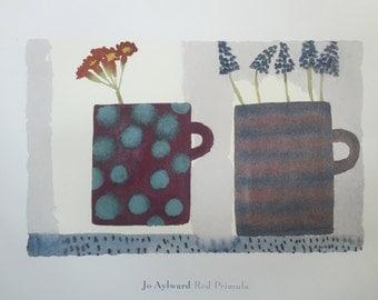 Jo Aylward Art Red Primula Abstract Still Life Art Print - FREE SHIPPING