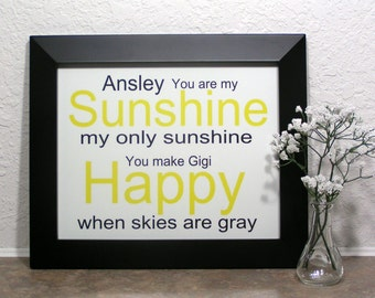 You are My Sunshine,Baby Shower Gift, Wall Art, Wall Decor, Nursery Gift, Baby Gift, Babyshower Gift, Gift from Mom, Gift from Grandma,