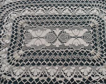Antique Lace Tablecloth - Bohemian Bobbin Lace - Big Oval tablecloth - Handmade Creamy Pure cotton  Lace - Collectible Home Decor Drapery
