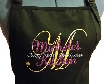 Apron - Personalized Kitchen Apron, Black Apron with Gold Initial