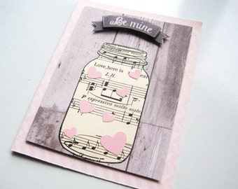 Handmade card, vintage inspired mason jar card
