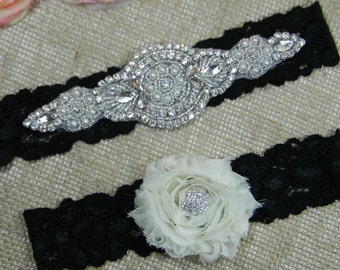 Wedding Garter Set Bridal Black And Ivory