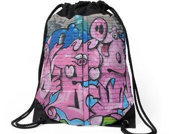 Street Graffiti Numero Tres Drawstring Bag Backpack Knapsack
