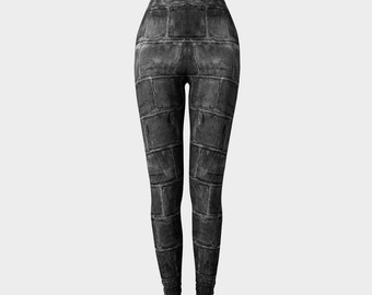 Brick Wall  Leggings    XS-S-M-L-XL Photo Gray Grey Black White Wearable Art Clothes Women Teen Ladies Pants Clothing Fashion